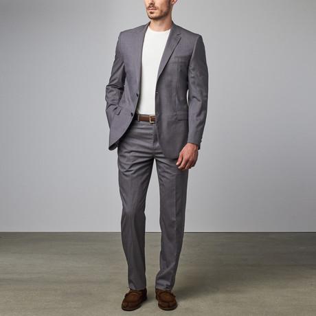 Textured Notch Lapel Suit // Light Grey