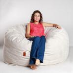 Convertible Bean Bag Chair // Cowhide // Ivory (Full)