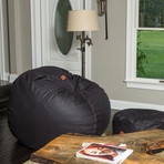 Convertible Bean Bag Chair // Cowhide // Black (Full)