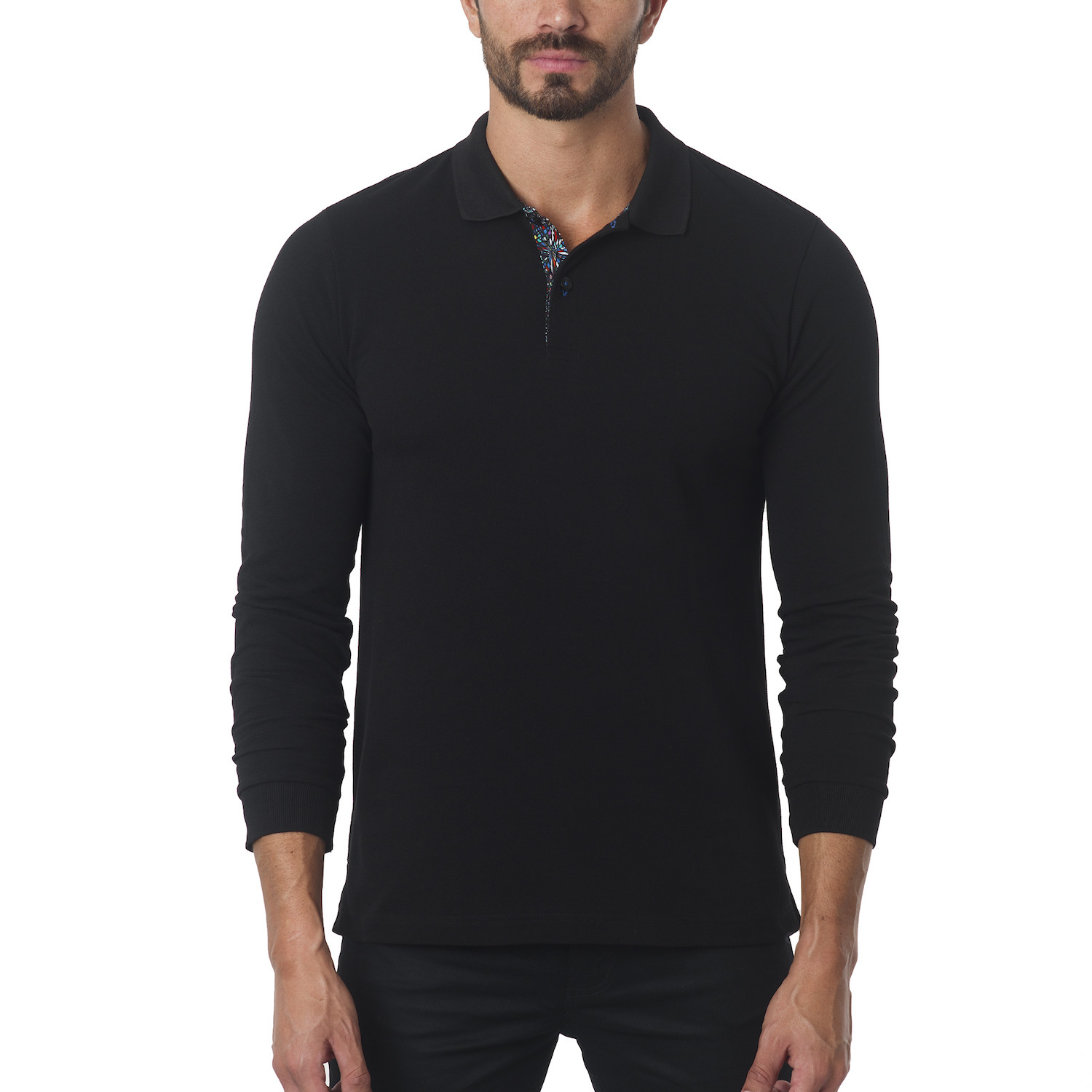 Jared Lang // Classic Long-Sleeve Polo // Black ...