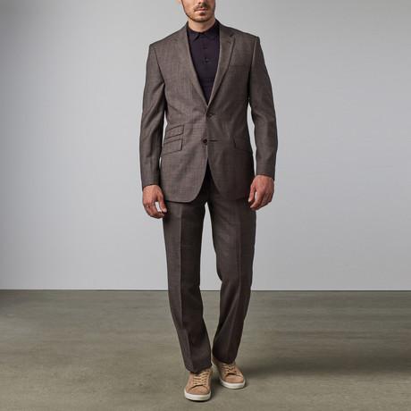 Gingham Plaid Notch Lapel Suit // Grey