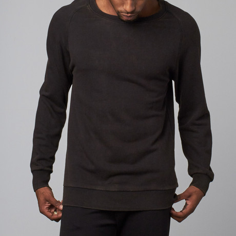 Stone Washed Modal French Terry Relaxed Neck Crew Sweater // Black