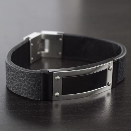 Framed ID Plate Leather Bracelet (Silver)