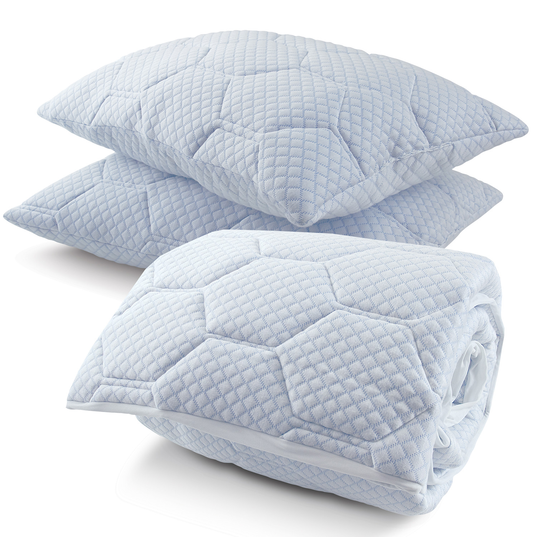 Arctic Sleep Memory Foam Mattress Pad Pillow Set Twin