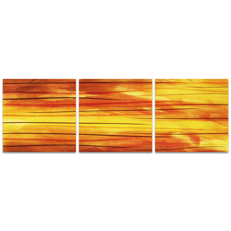 Aluminum W Panels : Momentum triptych medium quot l w panels metal art
