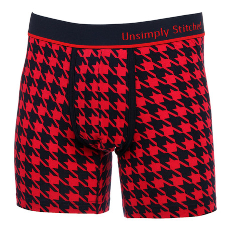 Houndstooth Boxer Brief // Red (S)