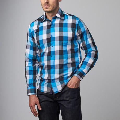 Reversible Cuff Dress Shirt // White + Blue Squares