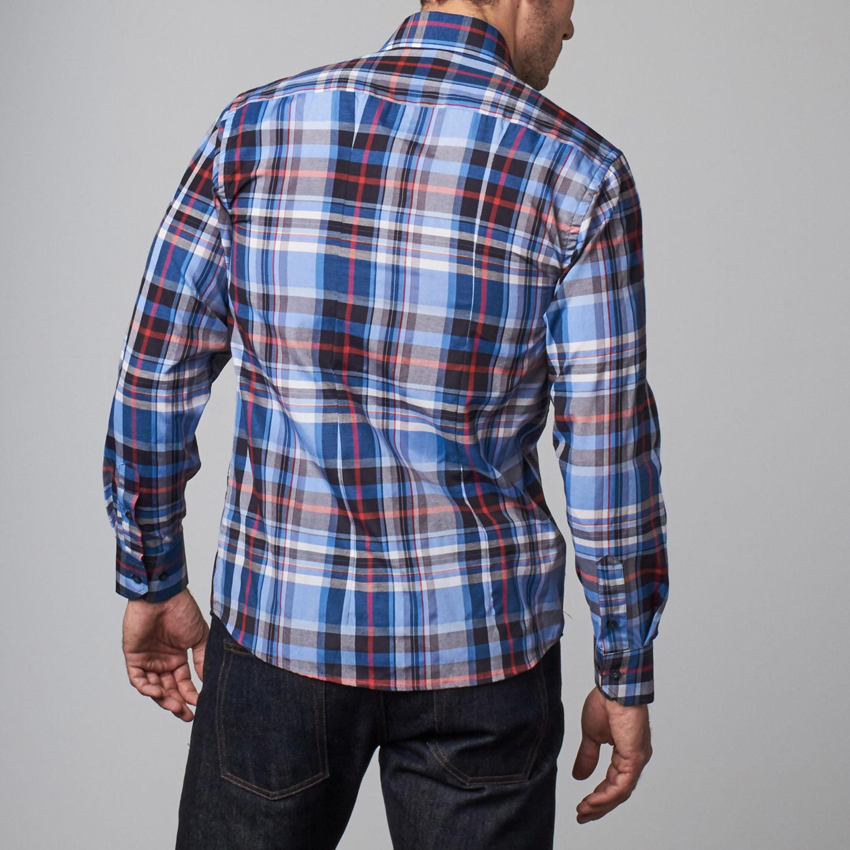 Reversible cuff dress shirt blue red black plaid s for Red plaid dress shirt