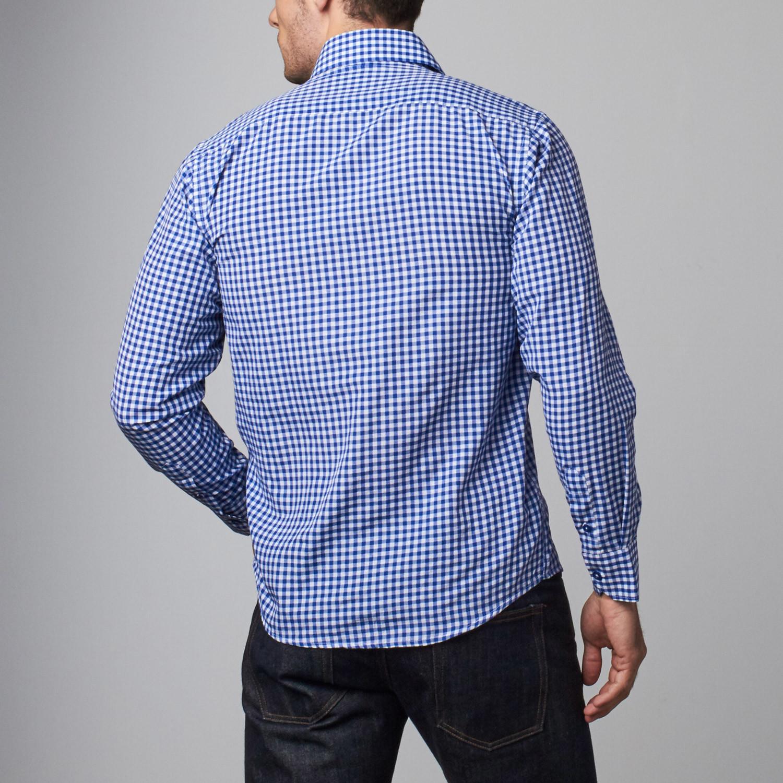Reversible cuff dress shirt blue white squares s for Blue white dress shirt