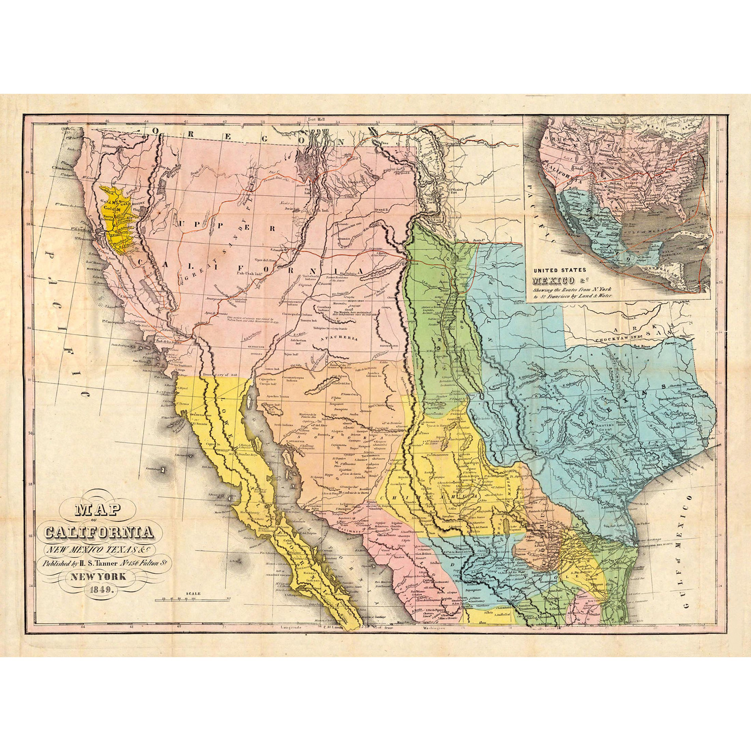 Map of California New Mexico Texas 18W x 24H Paper