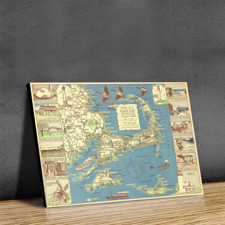 Decorative Cape Cod W X H Paper Antique Maps Touch Of - Large decorative maps