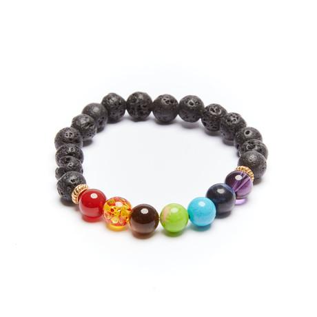 Lava Stone + Agate + Amber + Sodalite Beaded Bracelet // Multicolor