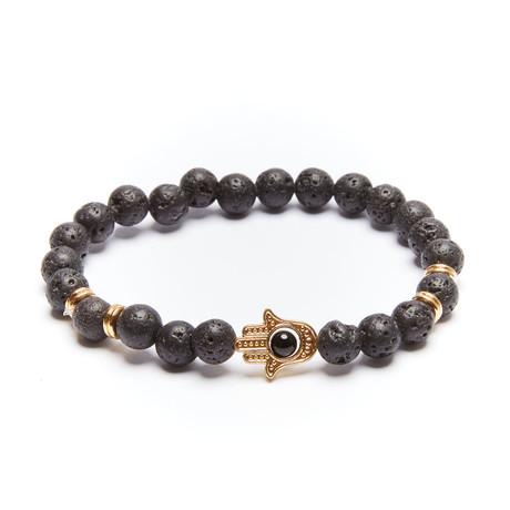 Lava Stone Hamsa Hand Bracelet