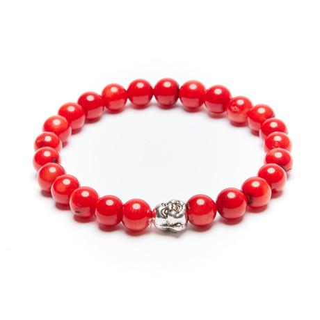 Jean Claude Jewelry // Coral Buddha Bracelet // Red