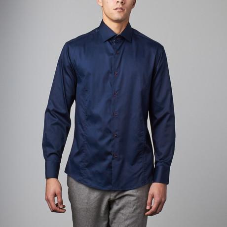 Long-Sleeve Button-Up Sateen Shirt // Navy (XS)