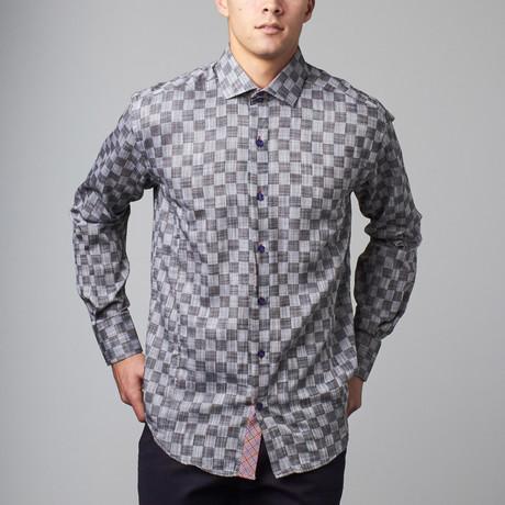 Bespoke Moda // Long Sleeve Button Down Jacquard Shirt // Black Check (S)