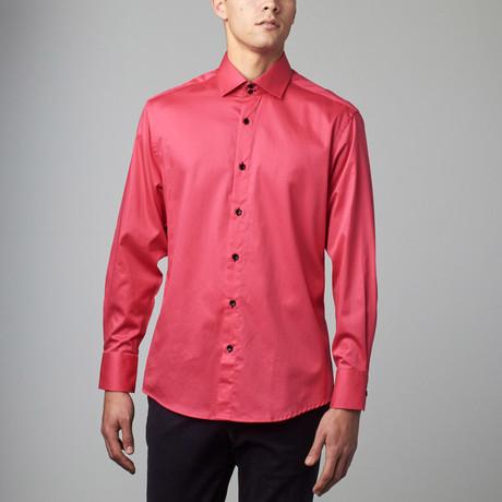 Bespoke Moda // Long Sleeve Button Down Sateen Shirt // Fuschia (S)