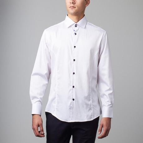 Long Sleeve Button Down Sateen Shirt // White