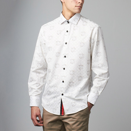 Bespoke Moda // Long Sleeve Button Down Jacquard Shirt // White Floral Dot