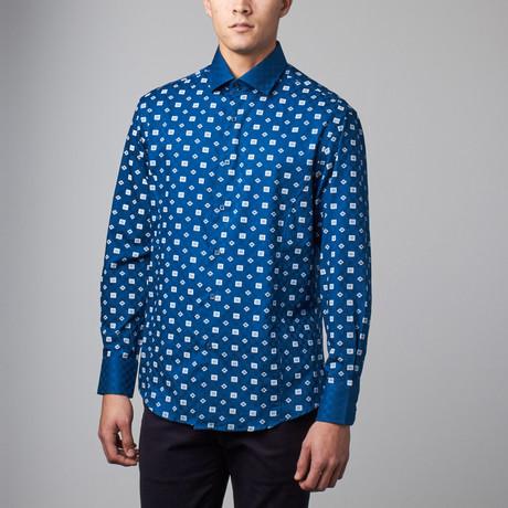 Long-Sleeve Button-Up Jacquard Shirt // Blue (S)