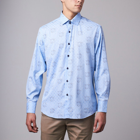 Bespoke // Long Sleeve Button Down Jacquard Shirt // Blue Floral Dot (S)