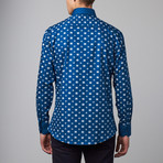 Long-Sleeve Button-Up Jacquard Shirt // Blue (S)