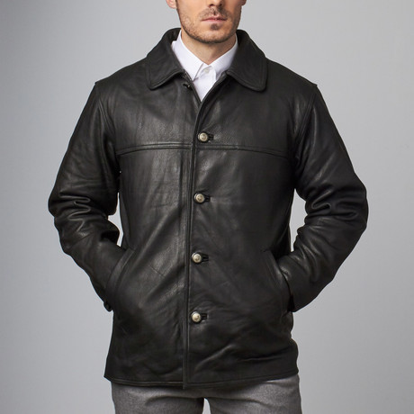 Button Front Car Coat // Black (S)