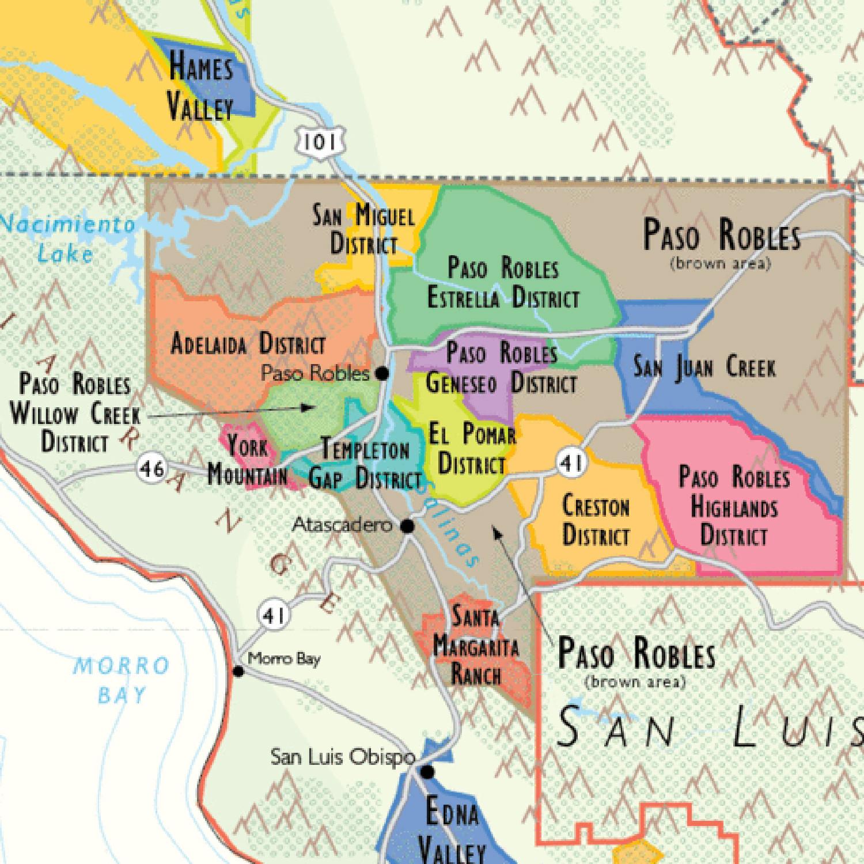 De Longs Wine Map Of California The Wine Lovers Collection - Map de california