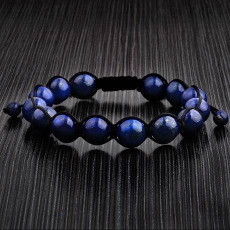 Macramé Lapis Lazuli Braided Bead Bracelet // Blue