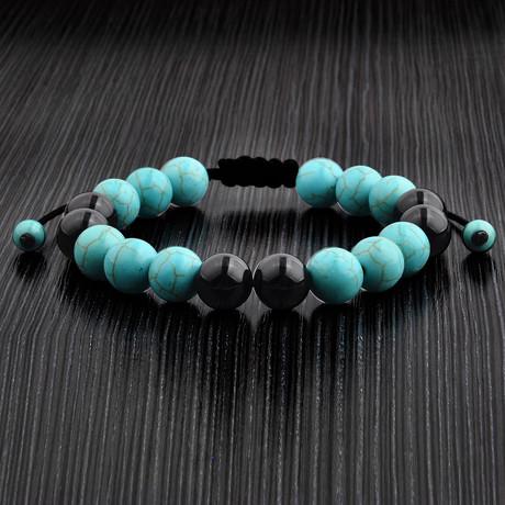 Turquoise + Onyx Braided Bead Bracelet // White//Black