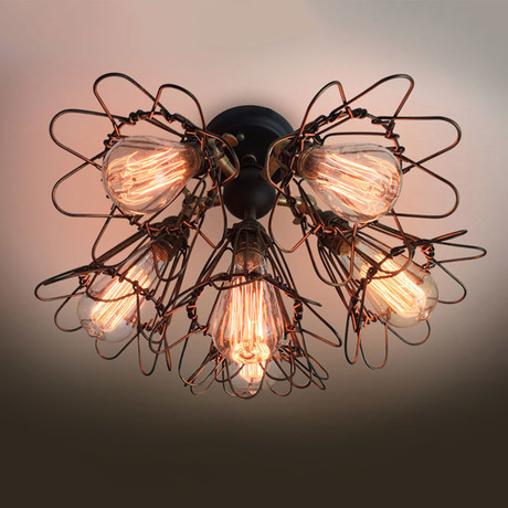 Adjustable Cage Ceiling Light // 6 Arm