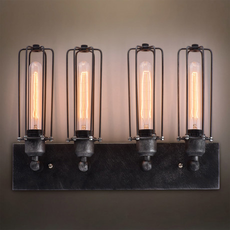 Linear Cage Vanity Sconce // 4 Arm