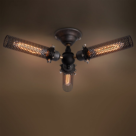 Grid Cage Ceiling Light // 3 Arm