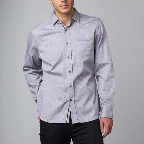 Long-Sleeve Woven Button-Up // Grey Jacquard