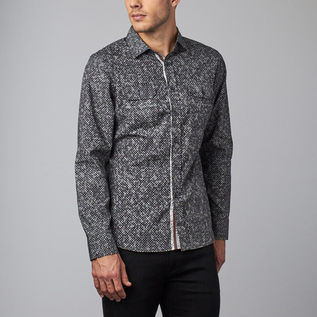 Long-Sleeve Woven Button-Up // Black Tiny Print