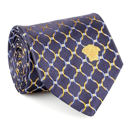 Silk Tie // Blue + Yellow