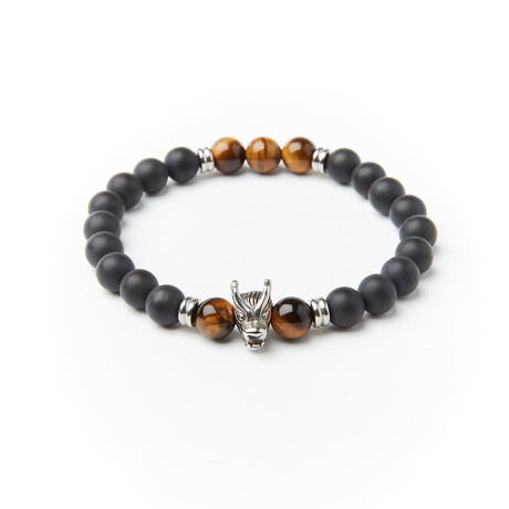 Steel Dragon + Onyx + Tiger Eye Adjustable Bracelet // Black + Brown