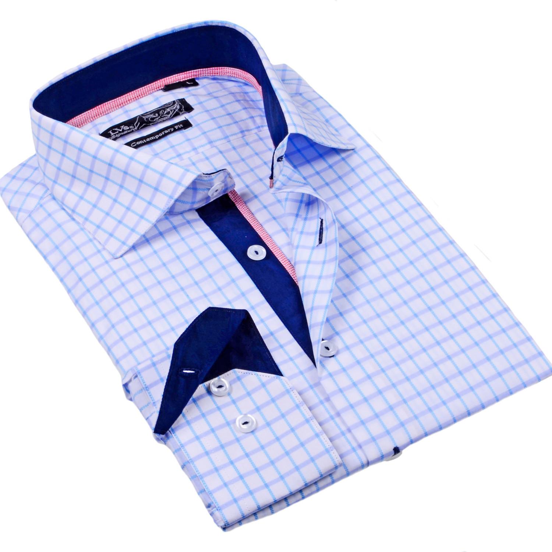 Levinas Button Up Dress Shirt Light Blue Check S