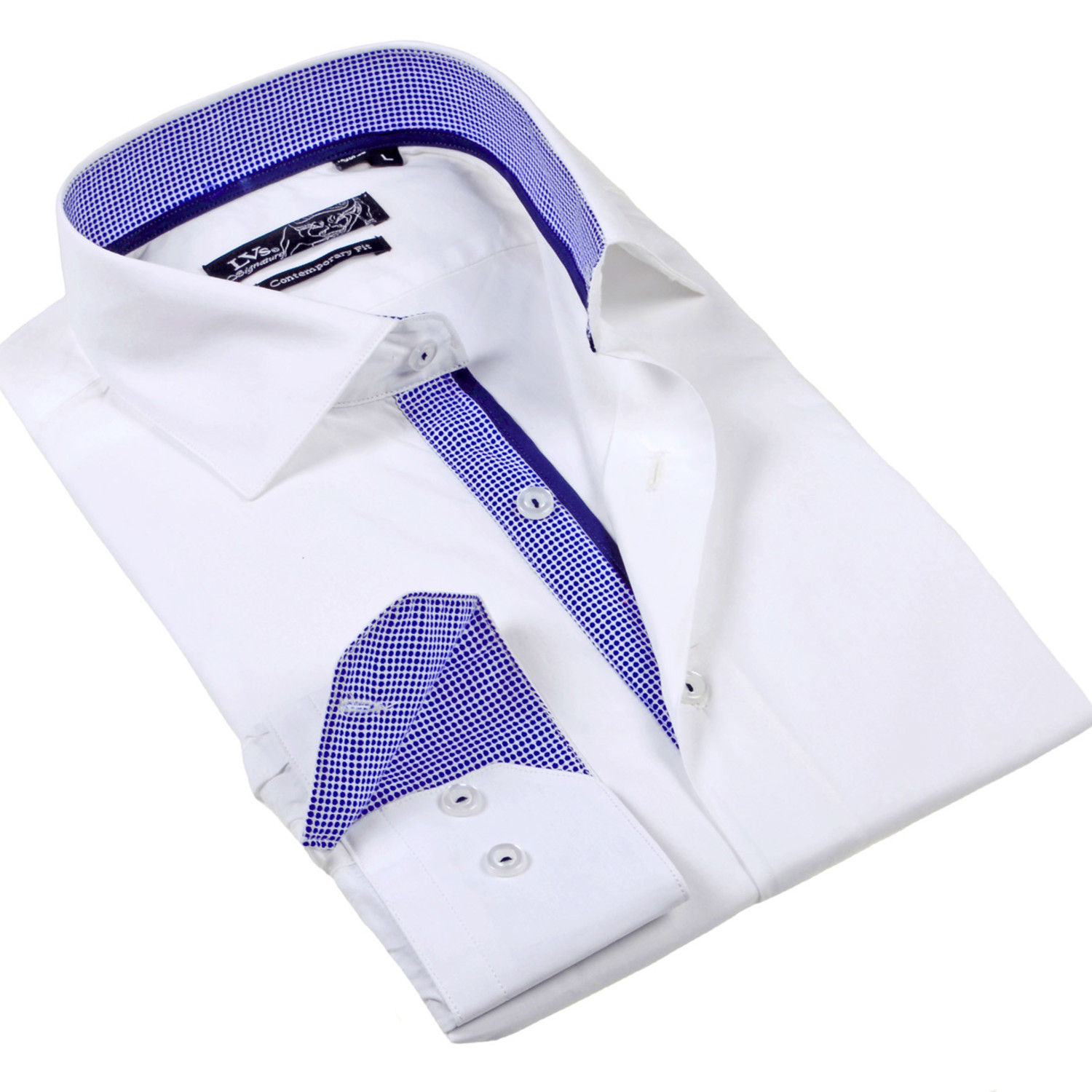 Solid Button Up Dress Shirt White S Lvs By Levinas
