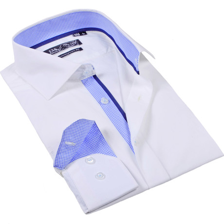 Button-Up Dress Shirt // White + Blue