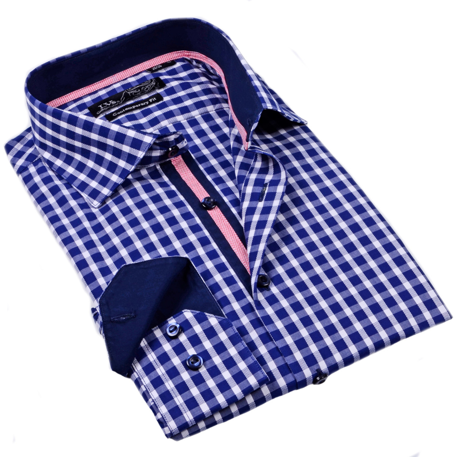 Gingham Button Up Dress Shirt Navy 2xlb Lvs By