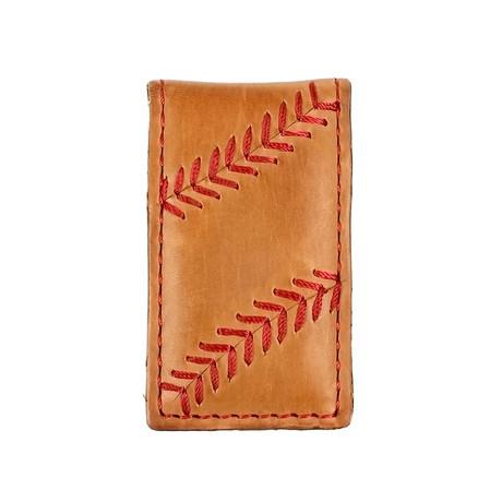 Baseball Stitch Money Clip // Tan