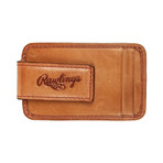 Baseball Stitch Front Pocket Wallet + Magnetic Money Clip // Tan