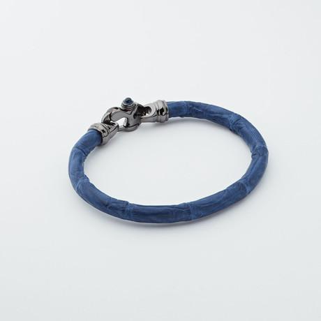 Alligator Bracelet // Dark Blue + Black (Large)