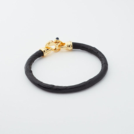 Alligator Bracelet // Black + Gold
