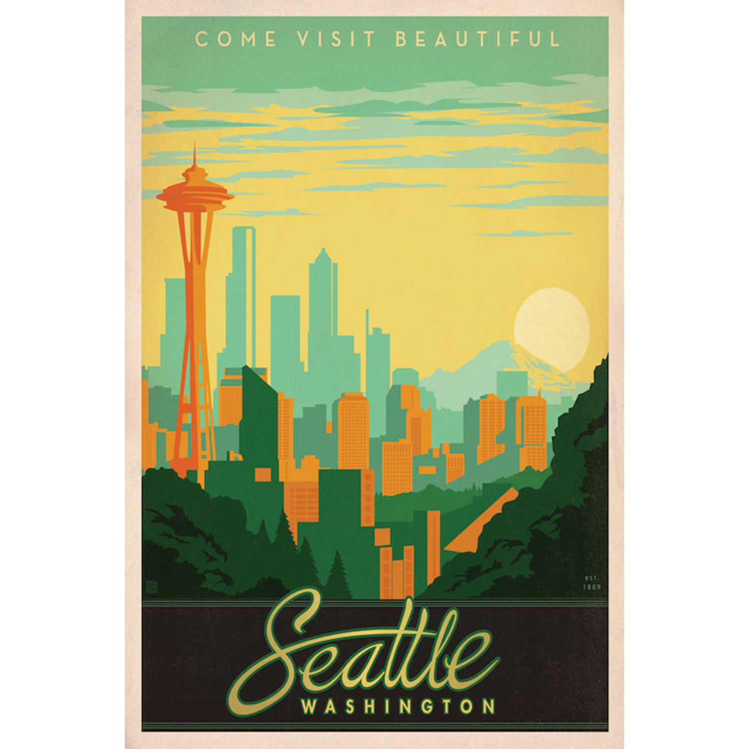 "Vintage Travel Trailers: Seattle, WA (18""W X 26""H X 0.75""D)"