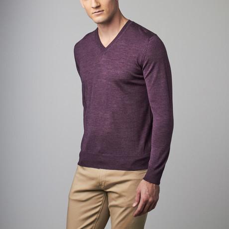 Pasadera Merino Silk V-Neck Sweater // Violet