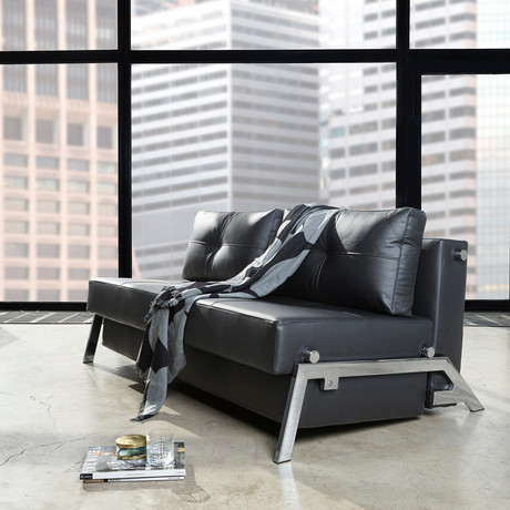 Cubed Deluxe Sofa // Chrome // Full             (Black Leather Look)