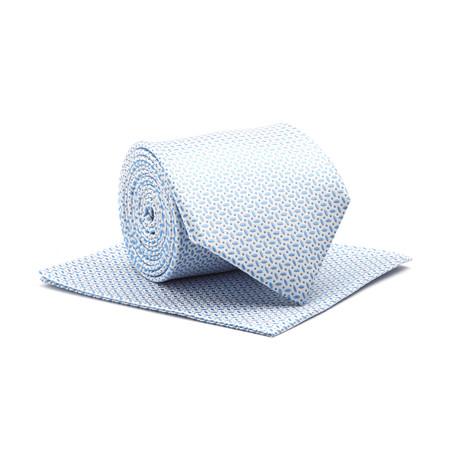 Woven Silk Tie + Pocket Square // White