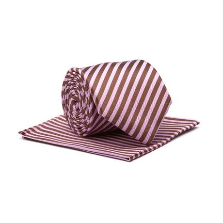 Stripe Silk Tie + Pocket Square // Fuchsia + Brown